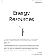 Energy Resource Revision Game