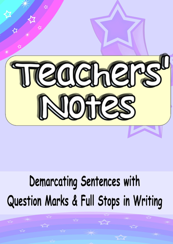 KS1 Full Stops & Question Marks. Challenging yet Fun, 4 Activity Complete VCOP SPaG Lesson