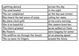 3 examples of personification sentences