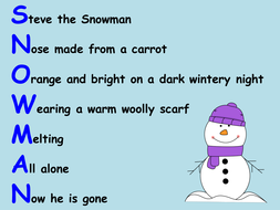 Winter Christmas Themed Acrostic Poems Teaching Resources