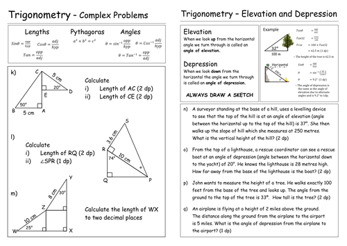 Trigonometry worksheet by Pebsy Teaching Resources Tes – Angle of Elevation Worksheet