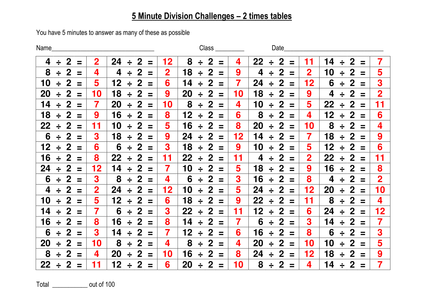 100 division challenge 2x tables for Multiplication table to 52