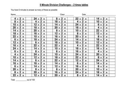 100 division challenge 2x for 100 times table questions