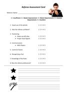 Referee Assessment Sheet