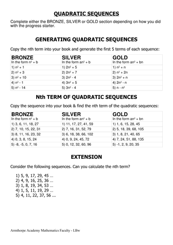 Worksheets Quadratic Worksheets quadratic sequences nth term by cherrythunder teaching worksheet pdf