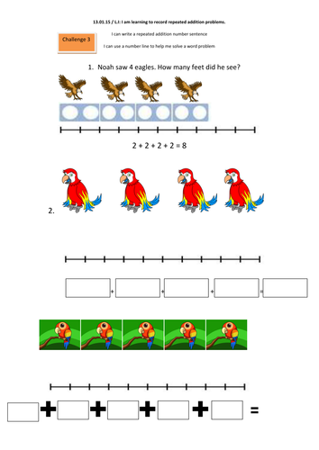 Year 1 multilplication - Repeated addition and arrays by shaunage ...