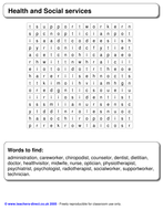 Health and Social care wordsearch