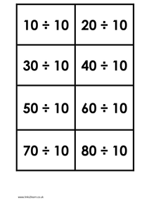 Matching cards 10 times table dividing docx for 10 times table game