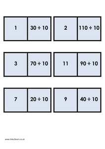 Dominoes 10 times table division for 10 times table game