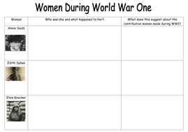 Y8 WW1 Women by amypunnett - Teaching Resources - Tes