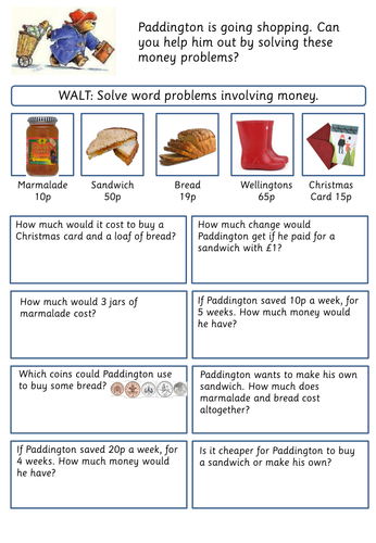 Word Problems Involving Money 11010394 on Paddington Bear Worksheets