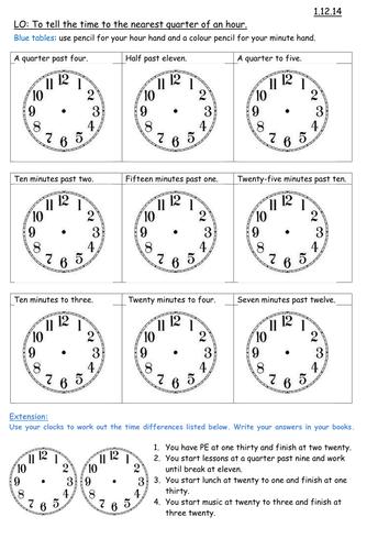 Time Worksheets » Time Worksheets Quarter Past - Preschool and ...