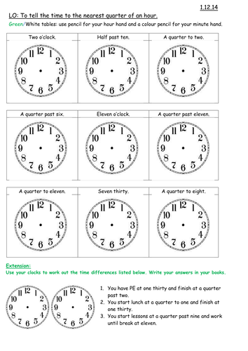 Time Worksheets Pdf : New curriculum time maths for year by carla