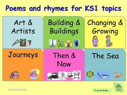 KS1 Poetry: a selection of poetry for KS1 topics [Art, Buildings, etc.] Over 100 poems! ppt.