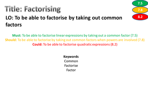 Factorising worksheet - Differentiated, levelled and with answers ...