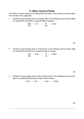 Worksheets Percent Yield Calculations Worksheet percentage yield calculations by chemschooltv teaching resources tes