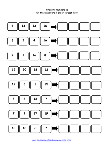 Number Names Worksheets year two maths worksheets : Ordering Numbers Worksheets : ordering numbers worksheets year 2 ...