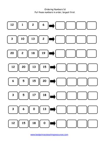 Ordering Numbers Worksheets Year 2 Mattawa
