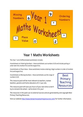 Maths Worksheets Year 1 by bestprimaryteachingresources - Teaching ...