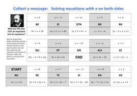Solving equations with x on both sides - collect a joke