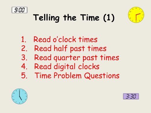 Pack 1: Telling the time (analogue/digital) - 12 hr clock ...