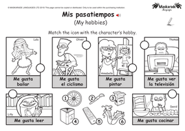 ks1 spanish level 2 hobbies days of the week months of the year by maskaradelanguages. Black Bedroom Furniture Sets. Home Design Ideas
