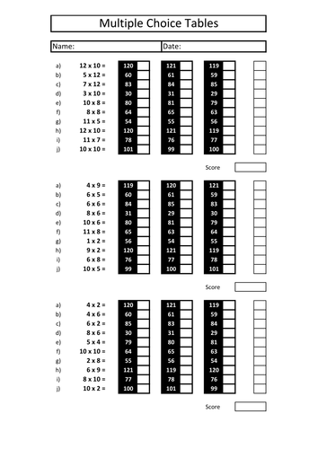 Interactive Multiple Choice Times Tables by bodmans