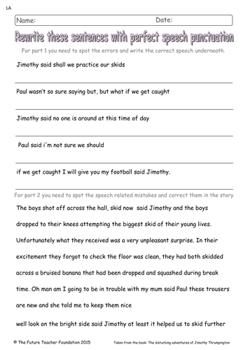 Inverted Commas Worksheet: Inverted Commas to Punctuate Direct Speech (Yr 4 or Yr 5 KS2    ,
