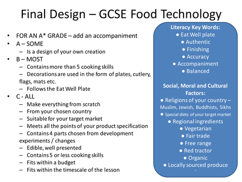 gcse food technology coursework checklist Edexcel gcse food technology coursework: 40- 50 hours 60% examination: 1 paper 1½hours foundation and higher – 40% topics to revise 1nutrition.