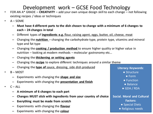 Questionnaire food technology coursework