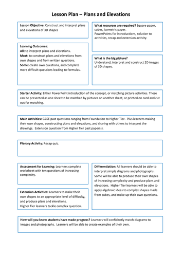 Plan And Elevation Worksheet : Plans and elevations d shapes at ks activities