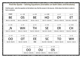 Find The Quote Solving Equations Variables On Both Sides And