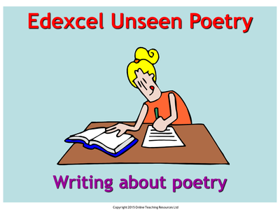edexcel unseen poetry gcse english literature powerpoint and worksheets by martin grundy uk. Black Bedroom Furniture Sets. Home Design Ideas