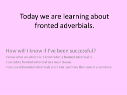 Fronted adverbials, dice games, presentation