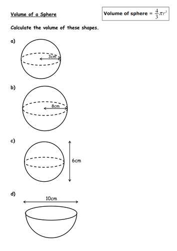 Volume Of Cones And Spheres By Kirbybill Teaching