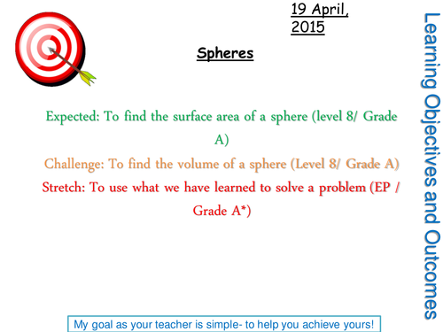 Surface area and Volume of Spheres by abiggs1991 Teaching – Volume of Sphere Worksheet