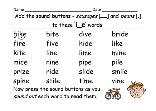 Worksheets Ie Words Phonics List phase 5 i e grapheme magic split digraph activities game add the sound buttons db2015