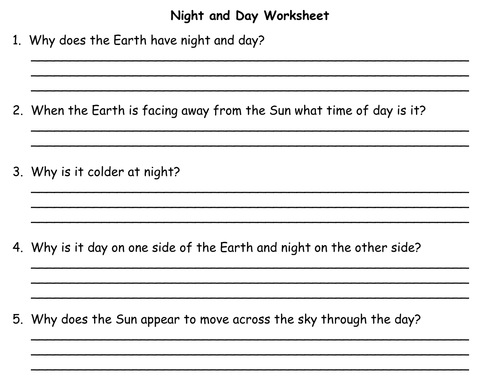 Night and Day - PowerPoint Presentation and Worksheet by Teacher ...