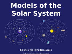 models of the solar system powerpoint presentation and worksheet