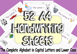52 Pages of  EYFS or KS1 Handwriting Practice A4 Sheets of the Complete Alphabet from A-Z