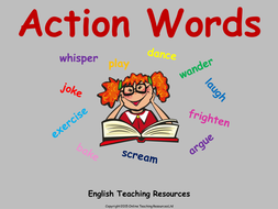 action words verbs animated powerpoint presentation and