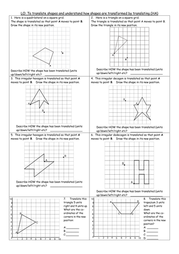 Printables Worksheets On Translations 3 differentiated worksheets y6 translating translation transforming sats style qs by clangercrazy teaching resources tes