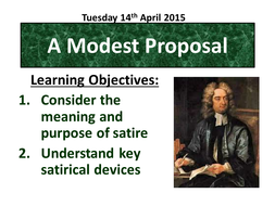 Satire A Modest Proposal Jonathan Swift Teaching Resources