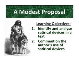 Satire A Modest Proposal Jonathan Swift Teaching Resources