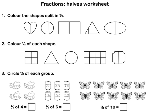 Fractions Halves Animated PowerPoint presentation and worksheet – Equal Parts Worksheets