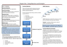 Corporate Objectives and Strategies
