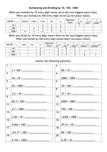 Points Of View Worksheet Multiplying And Dividing By  And Metric Conversions By  Animal Habitat Worksheets For Kindergarten Pdf with Worksheets On Characterization Excel Multiplying And Dividing By  And Metric Conversions By Alutwyche   Teaching Resources  Tes Helping Verbs And Linking Verbs Worksheets Excel