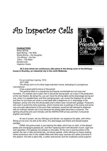 english an inspector calls essay An inspector calls essay print and intimidation which is the same effect that the inspector is english literature essay writing service essays.