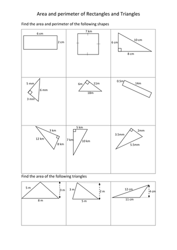 Area And Perimeter Of Rectangles And Triangles Worksheets By