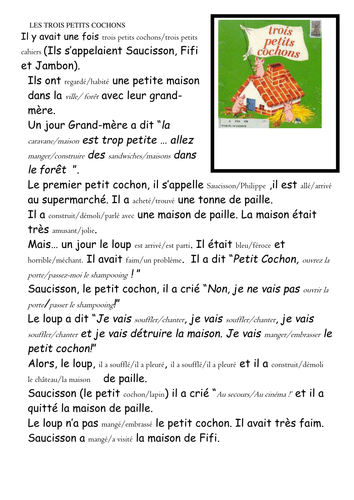 Les trois petits cochons by jmitchell91 teaching for A la maison translation